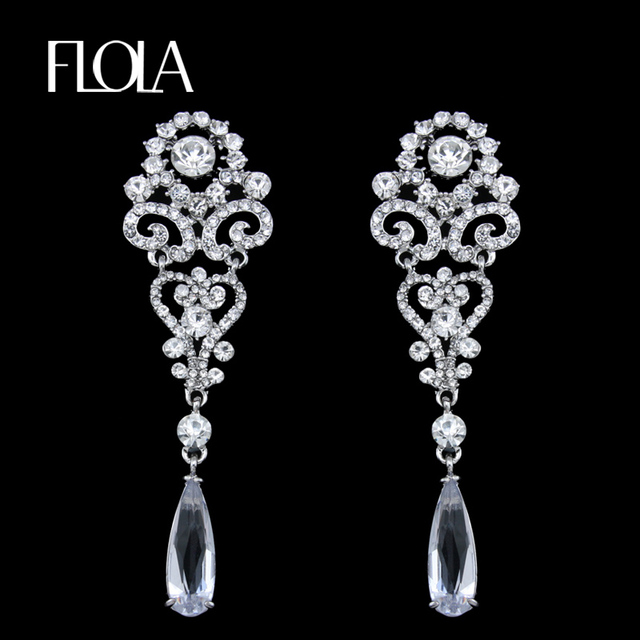 Flola Silver Crystal Drop Earrings For Women Luxury Long Wedding With Stones Fashion