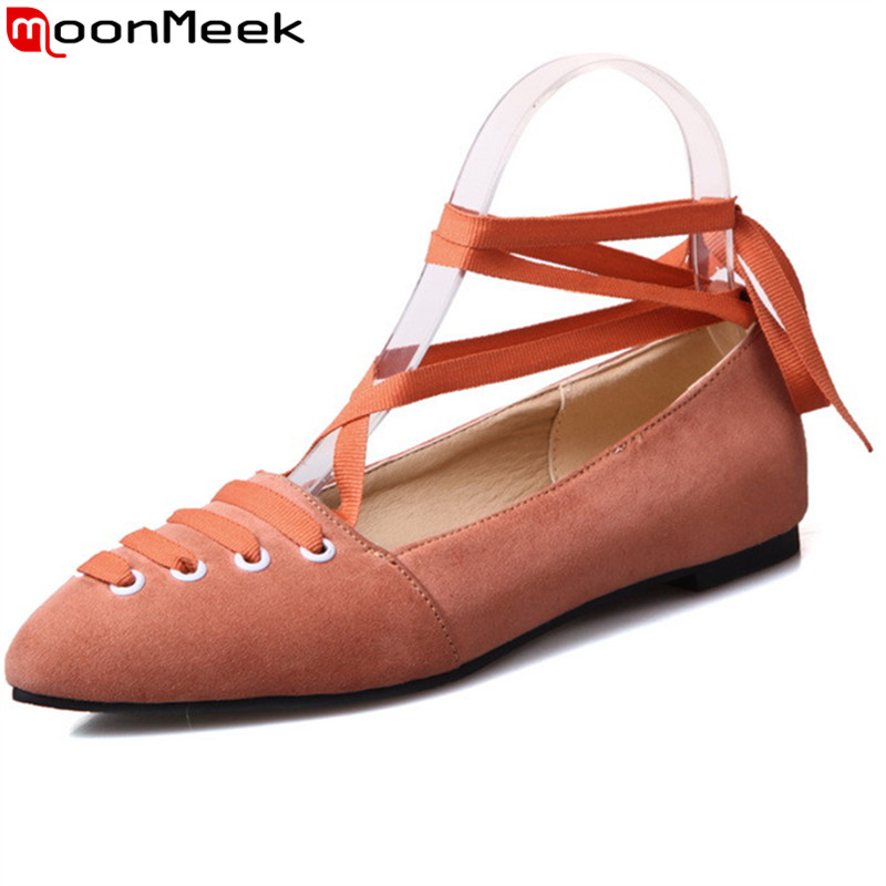 MoonMeek 2017 hot sale new arrive women flats fashion pointed toe solid color flock spring autumn single shoes elegant spring autumn solid metal decoration flats shoes fashion women flock pointed toe buckle strap ballet flats size 35 40 k257