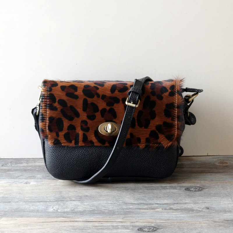 Leopard Pattern Genuine Leather Lady Messenger Bags High Quality Horse Hair soft Fur Leopard crossbody Bag Sexy Small Square bag