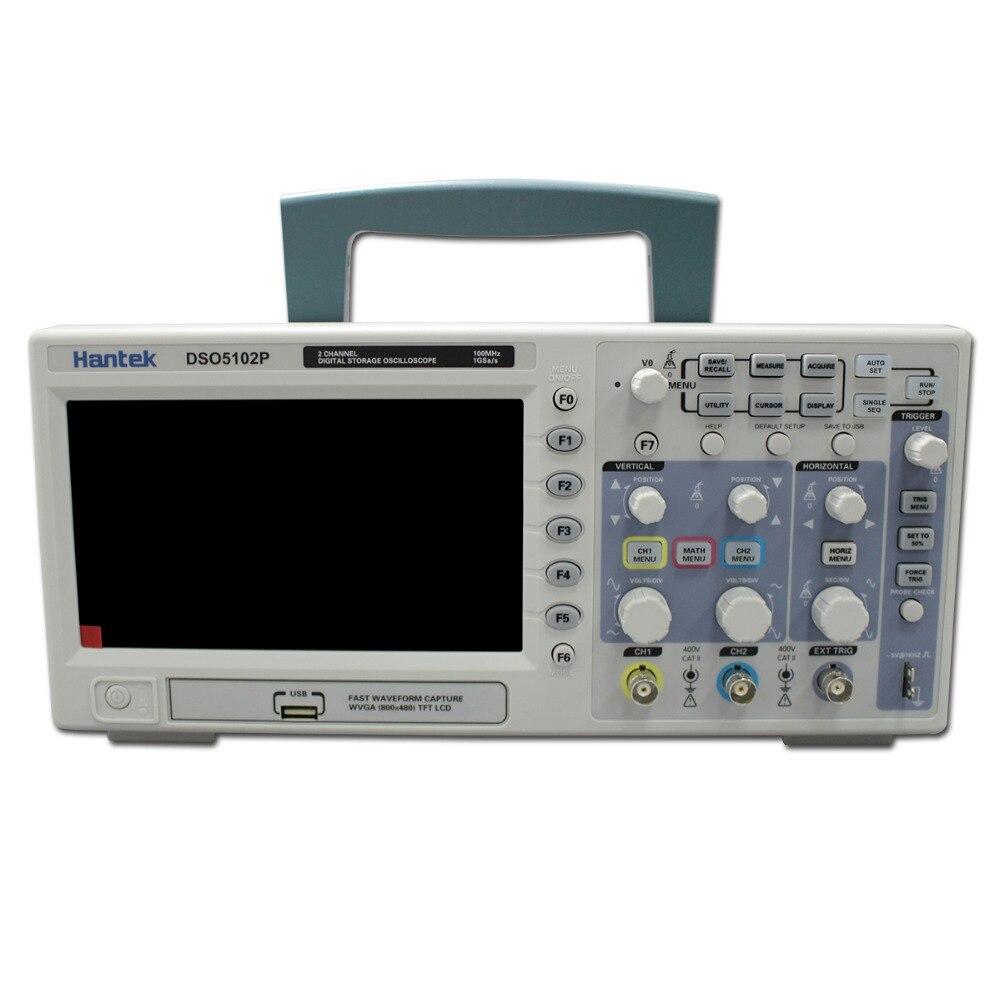 Hantek DSO5102P Oscilloscope Numérique Portable 100 MHz 2 Canaux 1GSa/s Longueur D'enregistrement 40 K USB LCD De Poche Osciloscopio 7 Pouce