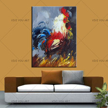 Hand Paint Modern Animal Knife Painting Abstract Cock Oil Painting On Canvas Handmade Decorative Art Home Decor For Living Room(China)