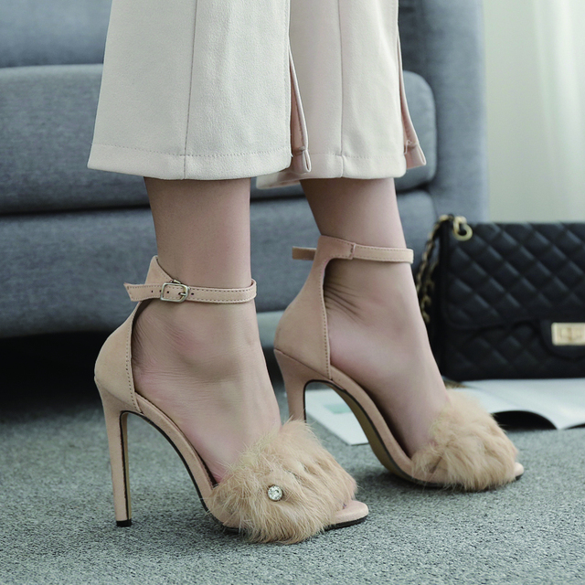 b04228c94b2b MONMOIRA Sexy One Strap Rhinestone Women Sandals Faux Fur High Heel Sandals  Women Gladiator High Heel Women Pumps Shoes SWC0049