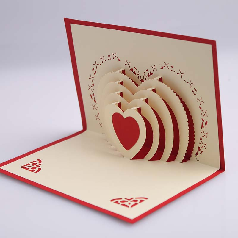 3D Pop Up Heart Shape Card Postcards Greeting Decoration Happy Anniversary Birthday Valentine Christmas In Cards Invitations From Home Garden On