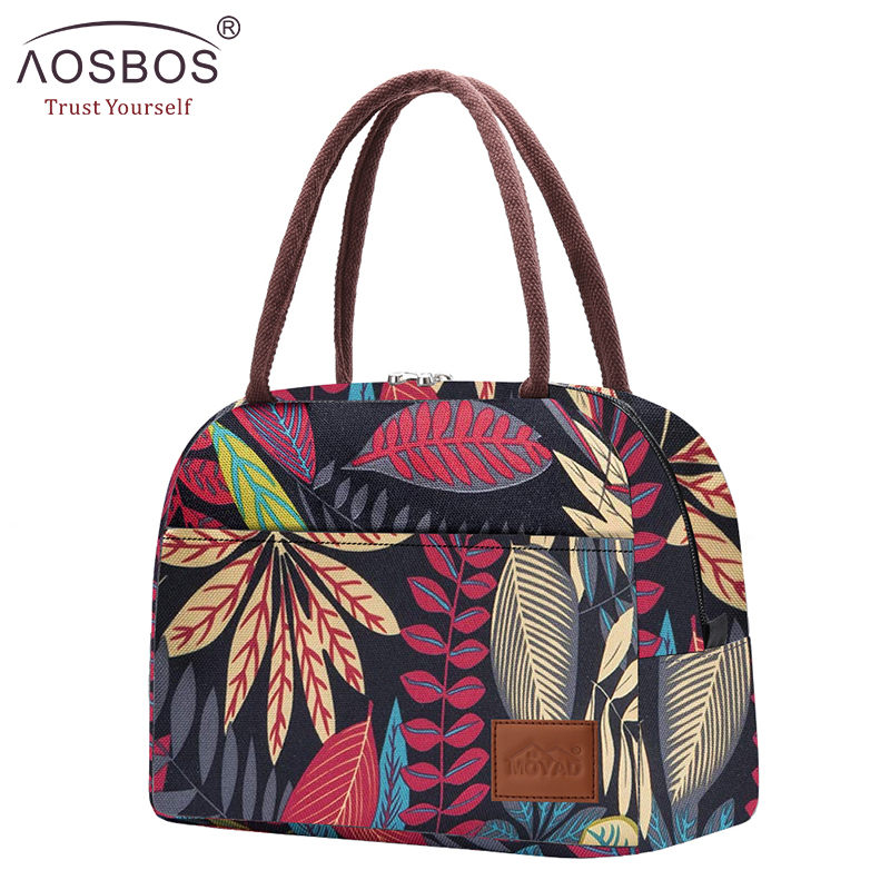 Aosbos Canvas Portable Cooler Lunch Bag Thermal Insulated Multifunction Food Bags Food Picnic Lunch Box Bag For Men Women Kids