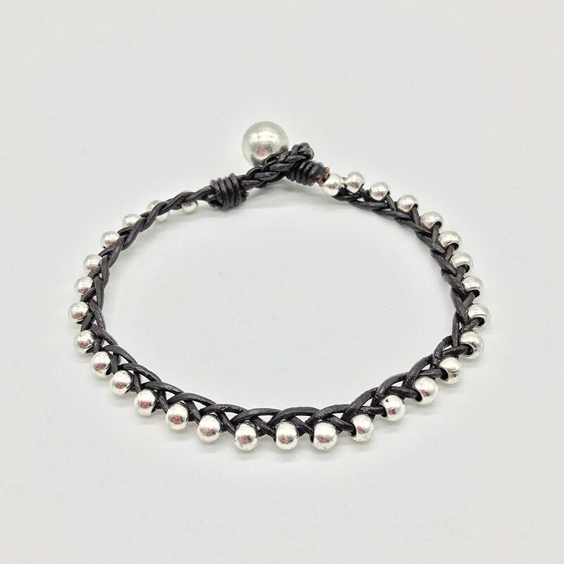 New style simple fashion leather rope, hand weave, twist braid, beaded bracelet Vintage Bracelet for women B037