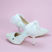 Shoes Wedding White Color Crystal Lace Bow Pearls Sweety Princess Styel Pointed Heels Graceful and Beautiful Shoes For Bride