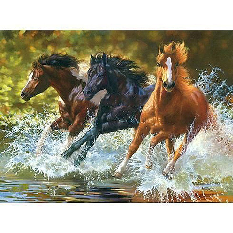 Three Running Horses Animal DIY Digital Painting By Number Modern Wall Art Canvas Painting Christmas Gift Room Decor 40x50cm