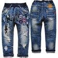 3794 отверстие дети джинсы мальчик детская одежда брюки джинсы осень дети мальчики девочки темно-синий не выцветает брюки свободного покроя