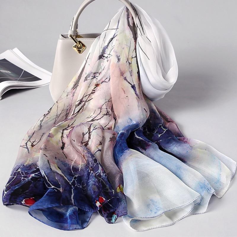 Vintage Floral Print Silk Scarf Women 100% Real Silk Brand Designer Shawls And Wraps Ladies Travel Pashmina Winter Neck Scarves