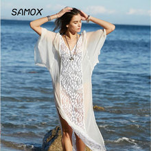 JSMY 2019 Bohemian style New Summer Fashion Women Temperament Chiffon Lace Splice Bikini Blouse Seaside Resort Sexy Long Dress 2018 limited real princess s new woman s dress ribbon chiffon bohemia long skirt and seaside resort
