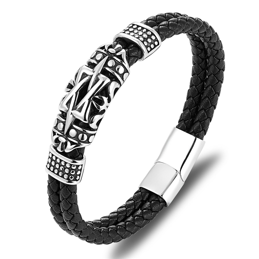 XQNI Punk Style Ancient Architecture Totem Elegant Small Adorn Article Genuine Leather Bracelet Double Layer Hand Jewelry Gift 5
