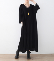 2018 Spring New Original Design Chiffon Dress Loose Plus Size V Neck Casual Elegance Beauty Women
