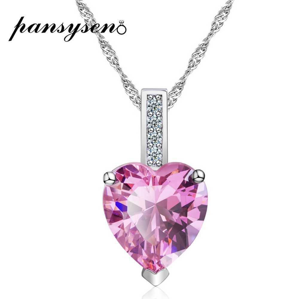 PANSYSEN Romantic Heart Pendant Necklaces For Women Pink Blue White AAA Zircon Rhinestone Silver 925 Jewelry Choker Necklace NEW