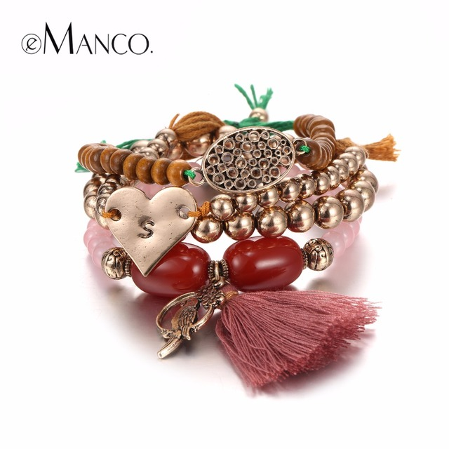 eManco Free Match Ethnic Tassel Charms Bracelets & Bangles for Women Red Semi Precious Stones Beads Ancient Gold Plated Jewelry