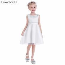Fancy Beading Flower Girls Dresses 2019 Erosebridal A Line Wedding Girl Dress Party Wear Zipper Back Knee Length VE-185