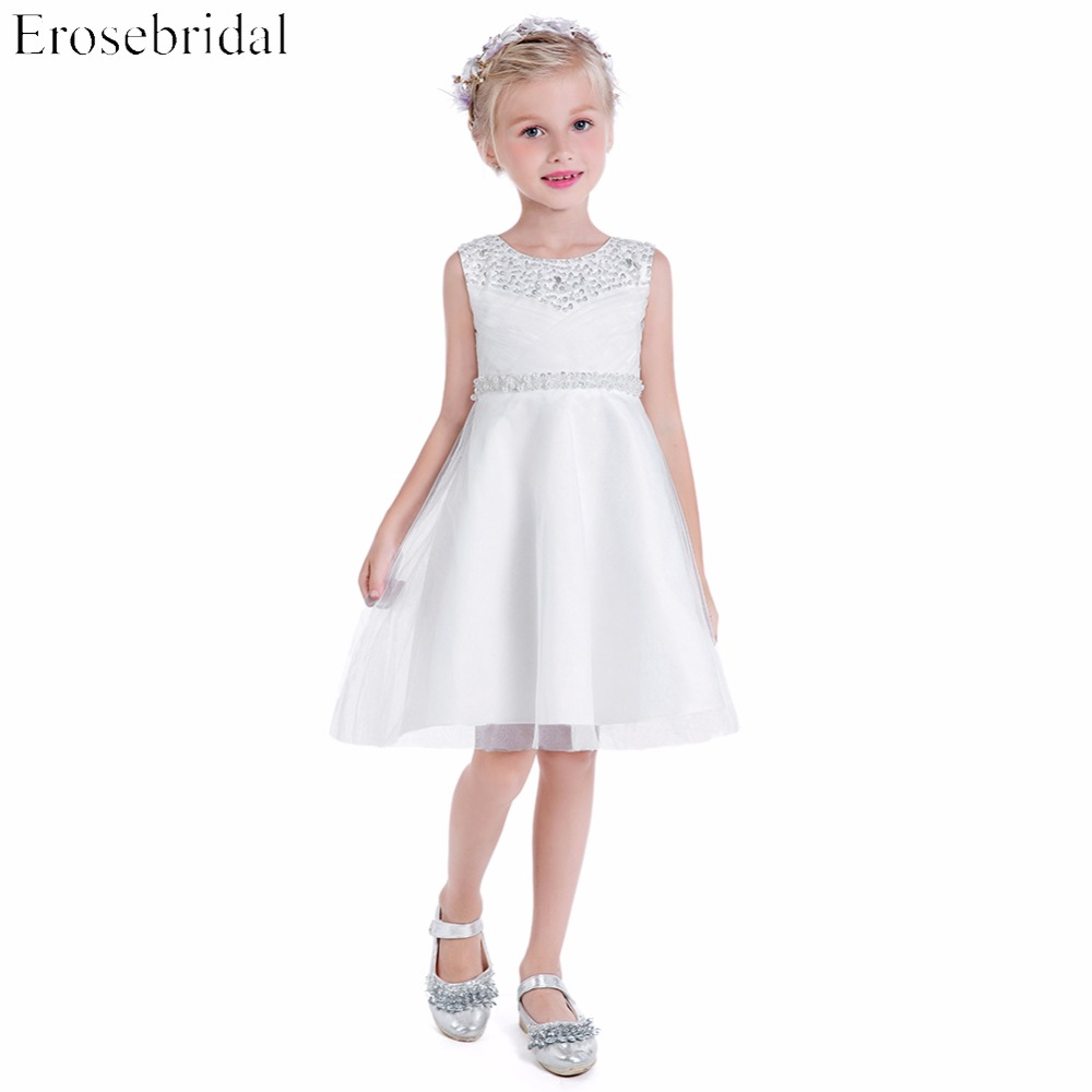 Fancy Beading   Flower     Girls     Dresses   2019 Erosebridal A Line Wedding   Girl     Dress   Party Wear Zipper Back Knee Length VE-185