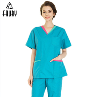 Women Medical Uniforms Doctor Nurse Scrubs Clothes Short Sleeve Tops Pants Scrub Set Pharmacy Pet Hospital Beauty Salon Workwear
