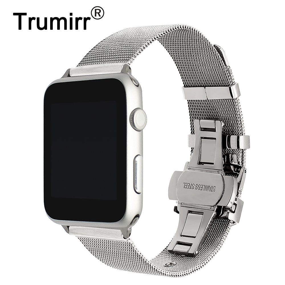 цены на Milanese Stainless Steel Watchband + Adapter for iWatch Apple Watch 38mm 42mm Series 1 2 3 Wrist Band Link Strap Bracelet Silver в интернет-магазинах