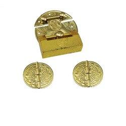 Drewniane pudełko z biżuterią wazon klamra zatrzask mosiądzu blokady  dekoracyjne Hasp  blokada + okrągłe zawiasy  w stylu Vintage Antique zestaw z zamkiem  żółty
