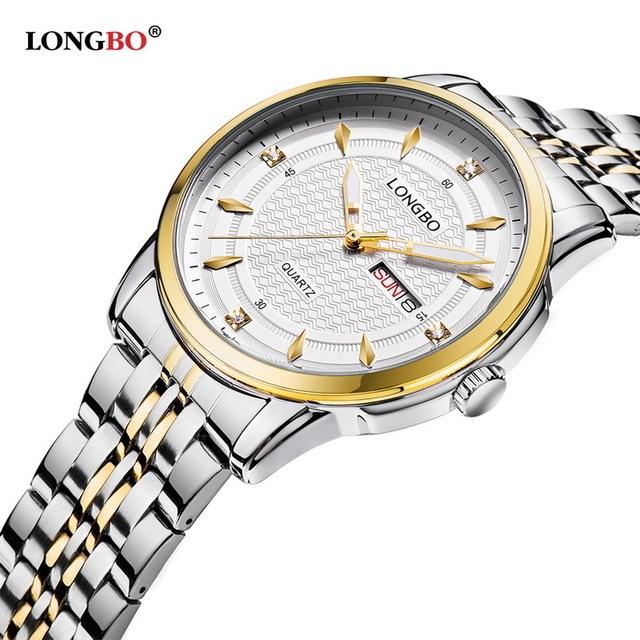 Marca LONGBO Sports Exército Chrongraph Analógico Relógios Casal de Aço Calendário Completo Waterproof Quartz Relógio De Pulso Montre Homme 5006