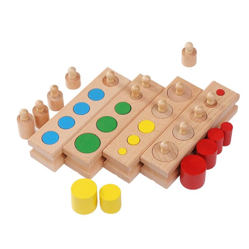 En bois Montessori Education Cylindre Prises Bloc Jouets Bébé Développement Pratique et Sensorielle Ensemble Famille Jouets