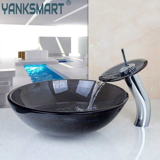US Round Bathroom Sink Faucet Vessel Sink Tempered Glass Drain Combo - Bathroom sink set up