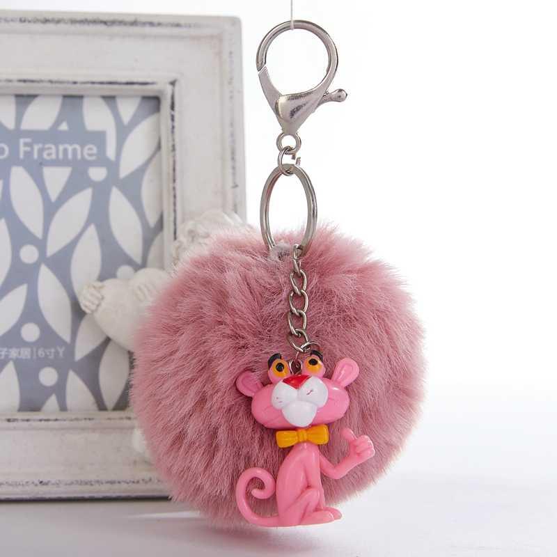 Bonito dos desenhos animados Pink Panther Keychain Vingadores Chaveiro Jóias Chaveiro Bola de Pêlo Pompom Fofo Saco Chave Chaveiro Para As Mulheres anel