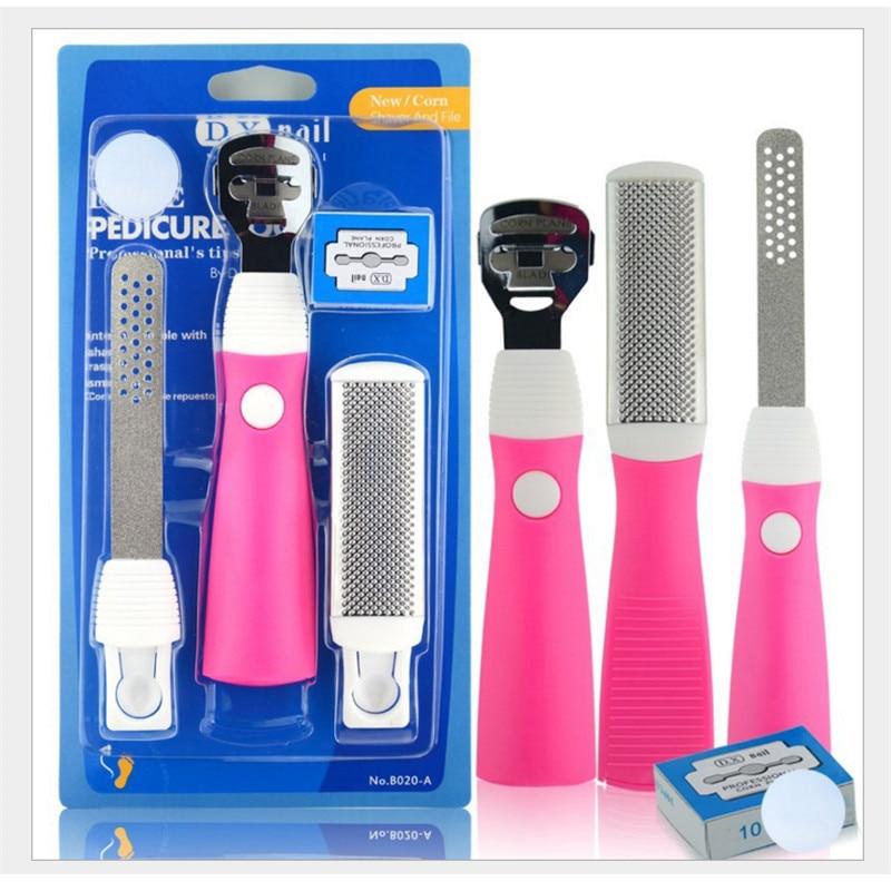 3 in 1 Exfoliating Manicure Pedicure Knife Peeling Foot Care Dead Skin Remover Cuticles Removal Exfoliator File Rasp Tool Set
