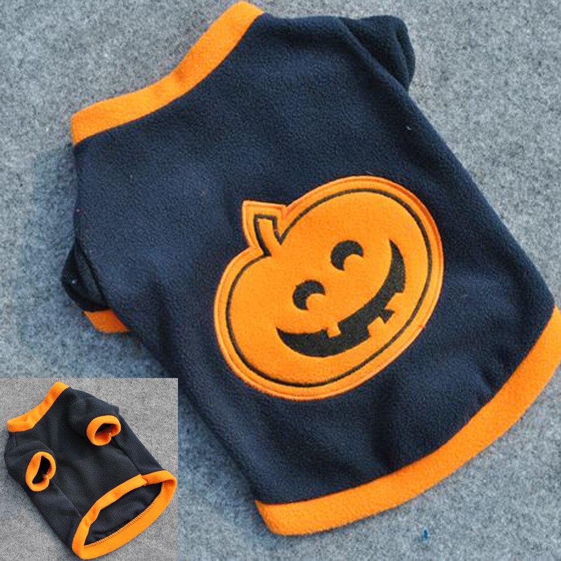 Low sale Orange Dog Puppy T-Shirts Clothes Warm Fleeces Cute Pumpkin Halloween Costume