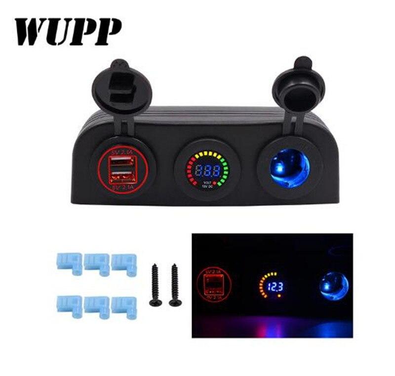 WUPP Étanche Double USB Véhicule DC 12-24 V Chargeur De Voiture 12 V USB 4.2A Puissance Adaptateur Chargeur Voltmètre Cigarette de voiture Prise Allume