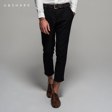 2016 U Shark Fashion Ankle Length Black Pants Men Slim Fit Workwear Brand Clothing Autumn New