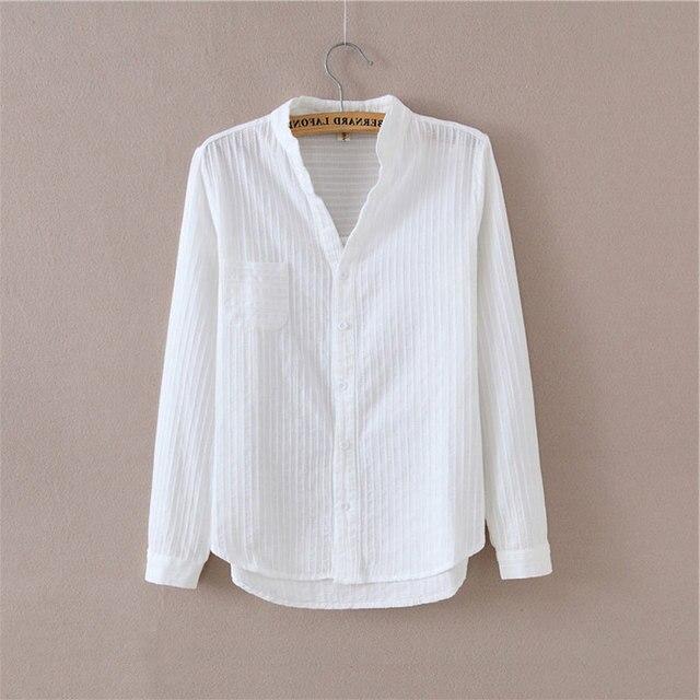 6bff6eb6144 Dioufond Autumn Blouse Solid Women Long Sleeve Ladies Work Tops Femininas  Chemise White Women Cotton Office