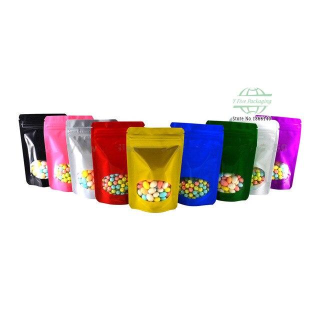 Цветной Алюминий фольга Встаньте мешочки на застежке молнии с прозрачным окном закуска хранения Многоразовые Пакеты с молнией Бесплатная