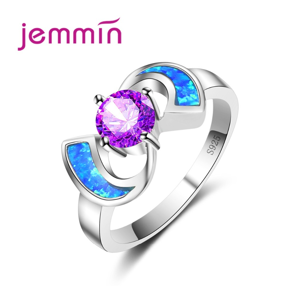 Original Design Fine Purple Crystal Wedding Rings For Women 925 Sterling Silver Jewelry Blue Opal Finger Rings For Lady