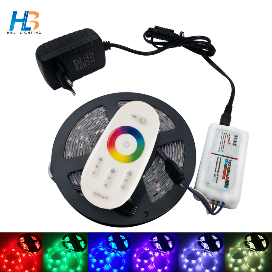 4M 5M RGB LED Strip 5050 Non waterproof led tape light rgb 8M  led ribbon+18A RF Wireless Touch Remote Controller+Power adapter