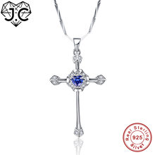 J.C Excellent Cross Design Heart Tanzanite Topaz Solid 925 Sterling Silver Pendant Fine Jewelry Top Quality Gift For Girlfriend(China)