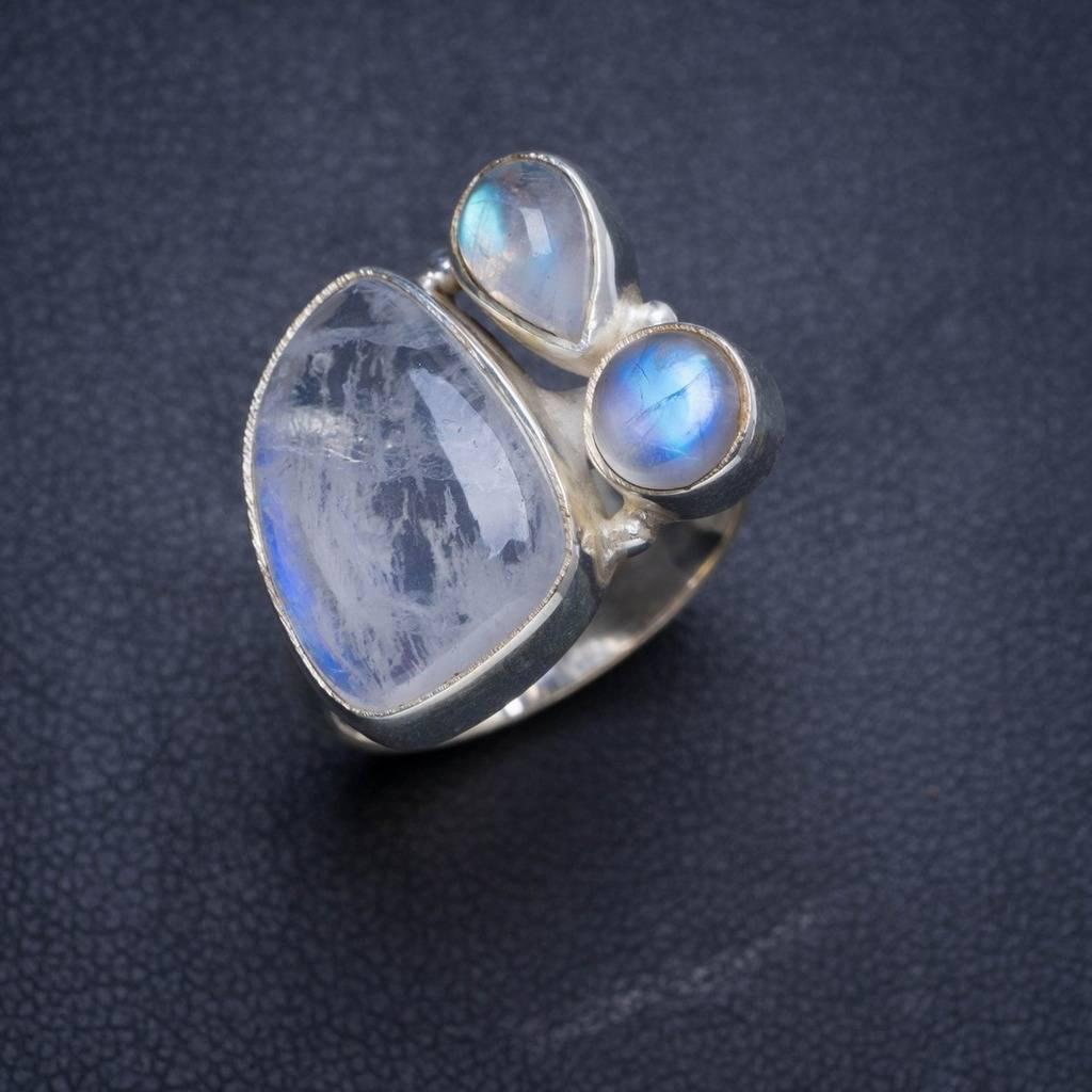 Natural Rainbow Moonstone Handmade Unique 925 Sterling Silver Ring 6.5 Y4475 natural rainbow moonstone handmade unique 925 sterling silver ring 6 75 y4681