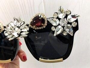 Image 4 - Custom made kryształowe luksusowe okulary przeciwsłoneczne damskie Bling Rhinestone Oversize kwadratowe markowe okulary przeciwsłoneczne okulary Vintage odcienie damskie