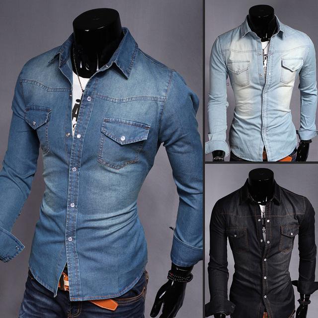 Moda Hombre Jeans Camisas de Vaquero Slim Fit Ropa Botón de la Camisa de Vestir Con Estilo Ocasional Del Algodón Del Cuello Bolsillo de Jean jean