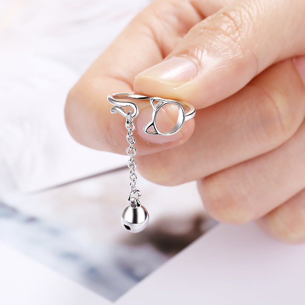 Todorova Fashion Cute Hollow Cat Adjustable Ring With Bell Pendant Charm Chain Rings for Women Girl Lovely Animal Jewelry Gift in Rings from Jewelry Accessories