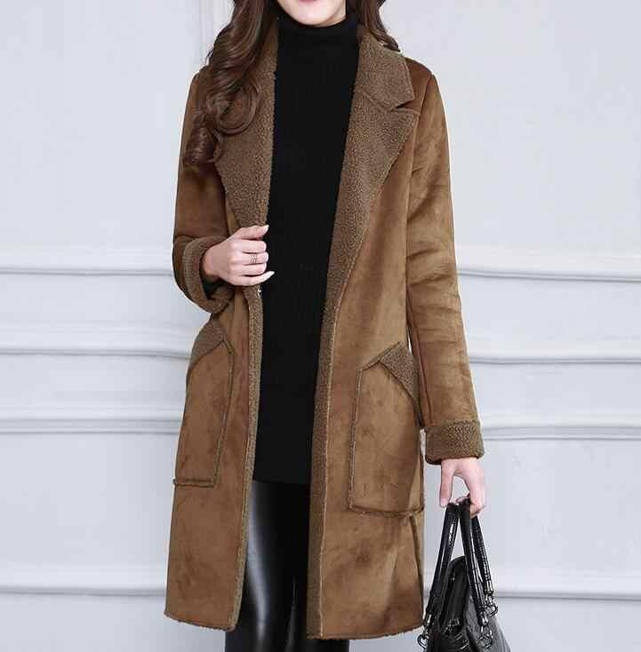 Женское Новое модное длинное шерстяное пальто из оленьей кожи, сезон весна-осень