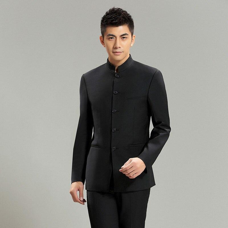 US $59.84 43% OFF Moda chiński garnitur stanąć kołnierz garnitury mężczyzn chiński strój tunika mężczyzna szczupła mundurek szkolny odzież chińska