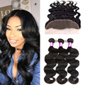 Ear To Ear Lace Frontal Closure With Bundles Peruvian Virgin Hair Body Wave With Closure Human Hair Lace Frontal With Bundles