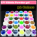 La moda de nueva 36 colores del arte del clavo ultravioleta polvo del brillo ultravioleta del Gel del Gel colorido del clavo del Gel 5 g / bottle, envío gratis