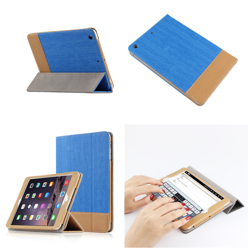 SD Luxury New Business Stitching Style PU Leather Case for iPad air 2 Flip Smart Cover for Apple iPad Air2 iPad 6 with Film gift
