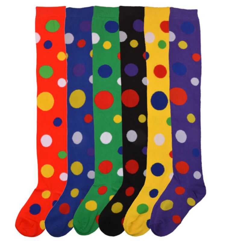 KLV Women Girls Christmas Party Clown Cosplay Over The Knee Thigh High Colorful Polka Dot Long Socks Cotton Hosiery