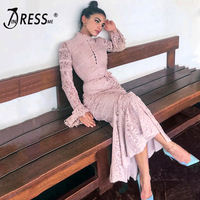 INDRESSME 2019 Women's Bandage Lace Dress Full Flare Sleeve Stand Neck New Sexy Fashion Mermaid Dress Bodycon Vestido Club Party