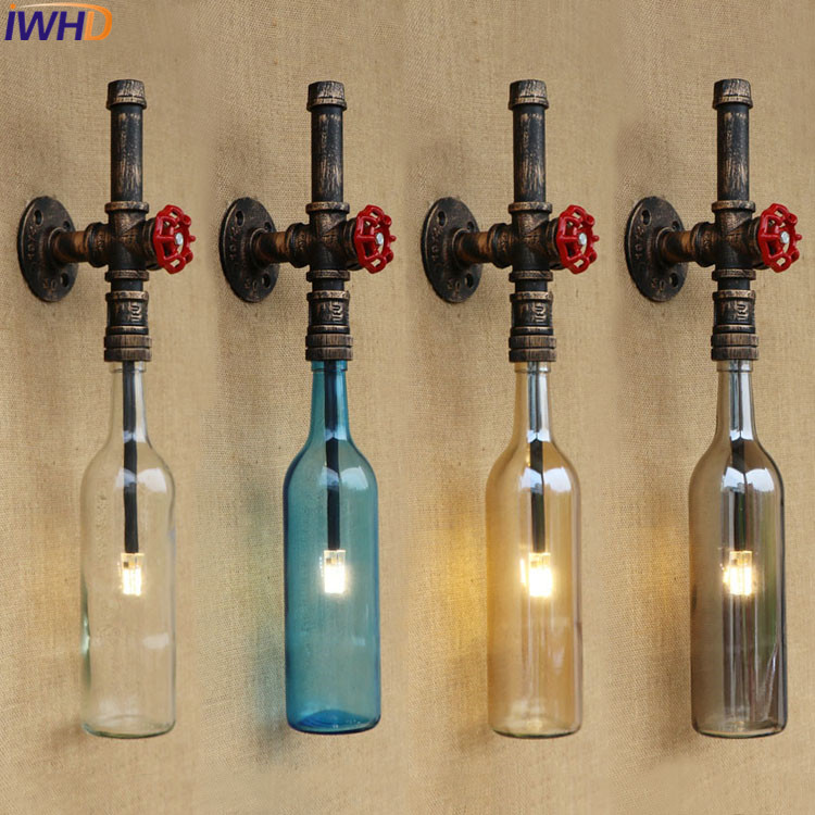 Vintage wall lights fixture Water Pipe light loft retro Wall Lamp With Switch Glass Bottle Lamparas holder Bedside Bedroom Lamp adnart flavour it glass water bottle with fruit infuser