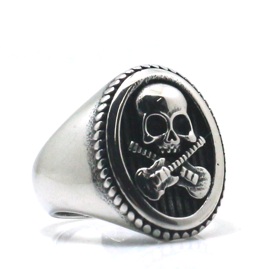 316L Stainless Steel Cool Punk Gothic Flaming Biker Cross Ring