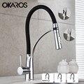 OKAROS вытяжной кухонный кран черная хромированная отделка двойное распылительное сопло Смеситель для холодной и горячей воды Ванная комната...